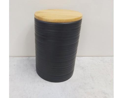 Банка 800 мл с бамбуковой крышкой BonaDi 304-922 /1 объемным рисунком Линии  Черный  (1 шт) PM