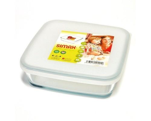 Пищевой контейнер Simax Color 7486 квадратный 15 х 15 х 4.5 cм с пластиковой крышкой
