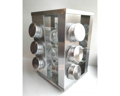 Набор для соли и специй Kamille 7033 на прямоугольной подставке 12 предметов