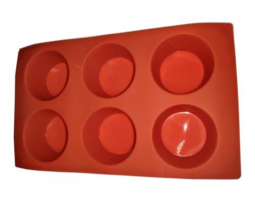Силиконовая форма для выпечки круглая 6 штук Genes красная PM