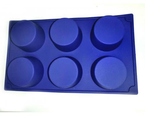 Силиконовая форма для выпечки круглая 6 штук Genes синяя PM
