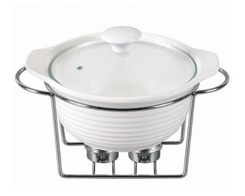 Мармит Kamille Food Warmer керамическая кастрюля 2,4л d 28 см с подогревом KM-6401 PM