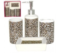Набор аксессуаров для ванной комнаты S&T 4 предмета Леопард  888-06-014