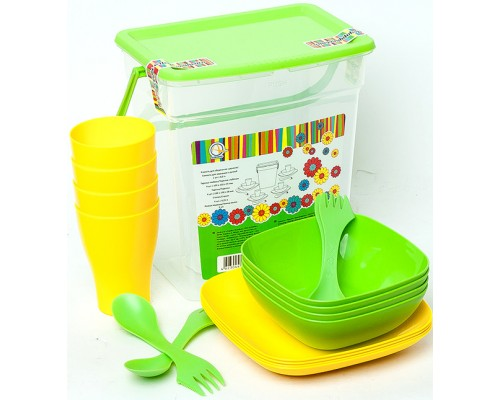 Набор пластиковой  посуды Алеана на 4 персони. 169042 PM