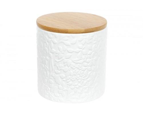 Банка керамическая 550 мл с бамбуковой крышкой Жасмин BonaDi 304-900