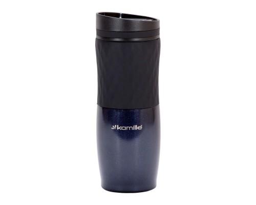 Чашка-термос 500 мл Kamille из нержавеющей стали с TPR вставкой синий КМ-2047