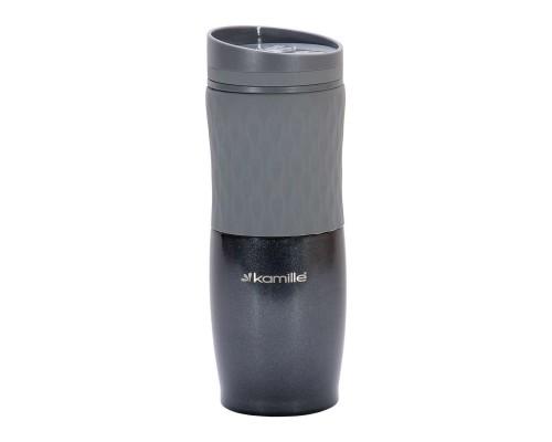 Чашка-термос 500 мл Kamille из нержавеющей стали с TPR вставкой серый КМ-2047 PM