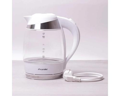 Чайник Kamille объем 1,8 литра, электрический с синей LED подсветкой КМ-1702A Белый PM