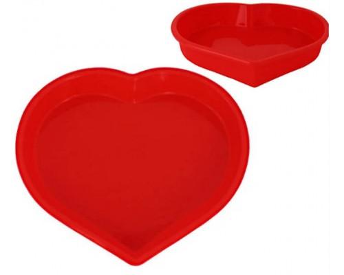 Форма силиконовая для выпечки d-25 х 23,5 х 4,5 см Сердце Kamille КМ-7702 PM