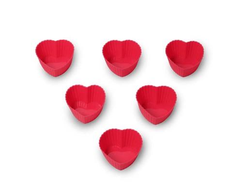 Набор силиконовых форм для выпечки мафиннов Сердце d-7 х 7 х 3 см Kamille КМ-7709 PM