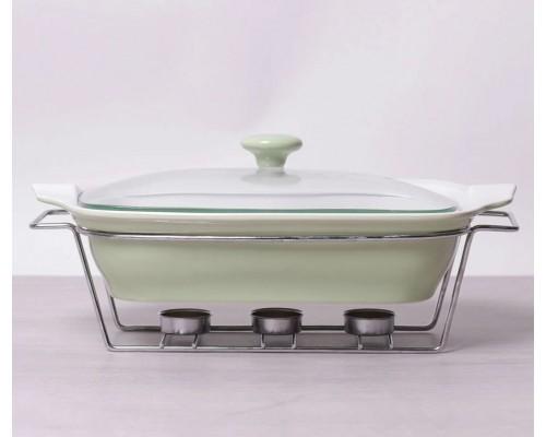 Мармит керамический прямоугольный 2.3 л со стеклянной крышкой оливковый Kamille 6406 PM