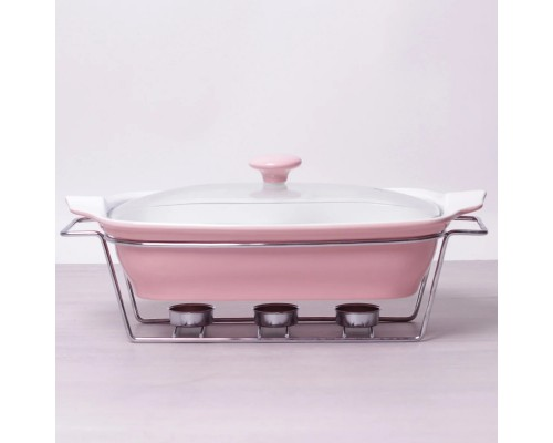 Мармит керамический прямоугольный 2.3 л со стеклянной крышкой розовый Kamille 6406 PM
