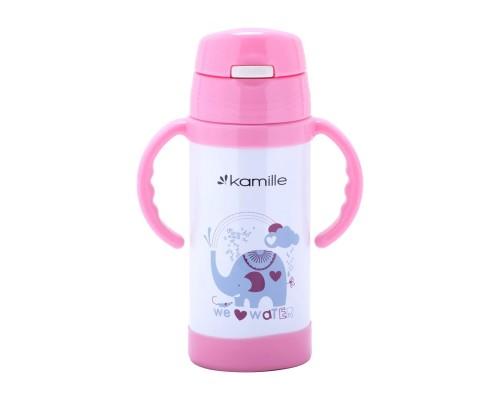 Термос-бутылка детская 350 мл. Kamille 2085 нержавеющая сталь розовый