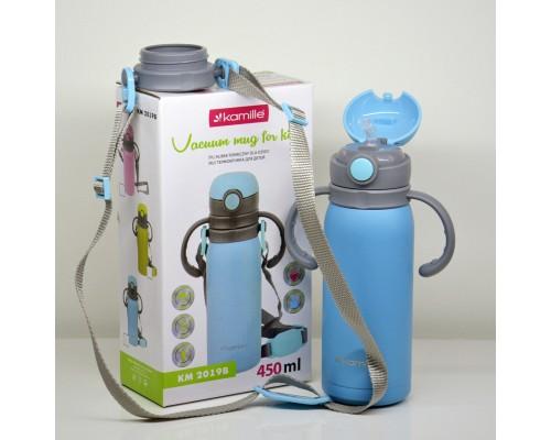 Термос-бутылка детская 450 мл. Kamille нержавеющая сталь синий  2019В-450