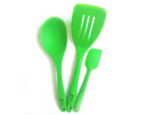 Набор силиконовых кухонных принадлежностей SNS  3 предмета (ложка, 2 лопатки)