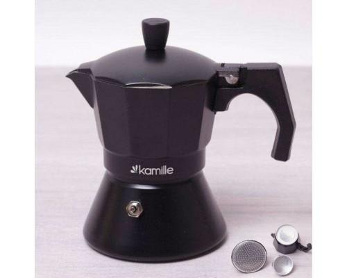 Кофеварка гейзерная Kamille 150 мл (3 порции) алюминиевая с широким индукционным дном КМ 2511 PM