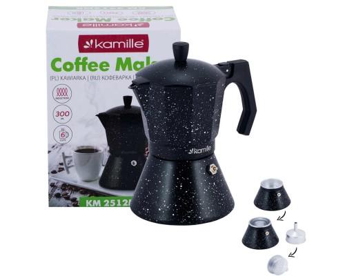 Кофеварка гейзерная Kamille 300 мл (6 порции) алюминиевая с широким индукционным дном КМ 2512MR PM