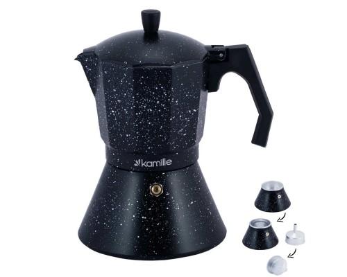 Кофеварка гейзерная Kamille 600 мл (12 порции) алюминиевая с широким индукционным дном КМ-2514MR PM