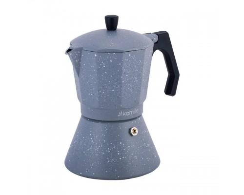 Кофеварка гейзерная Kamille 600 мл (12 порции) алюминиевая с широким индукционным дном серый мрамур КМ-2519GR PM