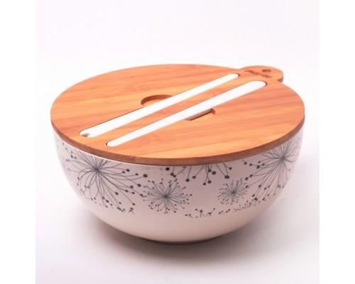 Миска 27 х 12.2 см из бамбукового волокна с бамбуковой крышкой и приборами Kamille КМ-4384 PM