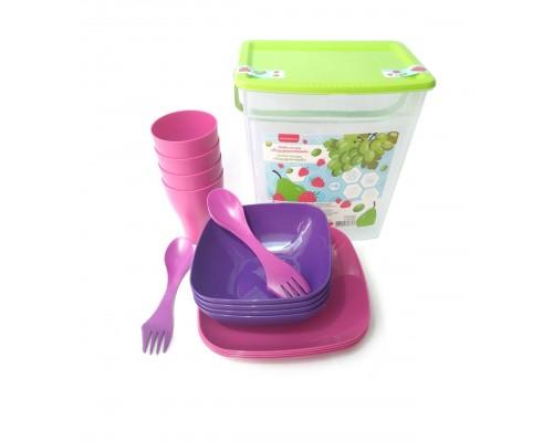 Набор пластиковой посуды на 4 персоны Алеана 169042 PM
