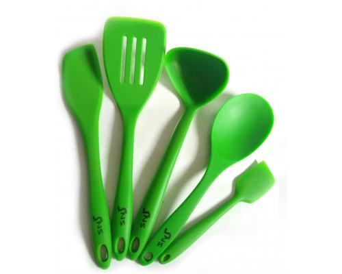 Набор силиконовых кухонных принадлежностей SNS 5 предметов (ложка, 3 лопатки, половник) PM