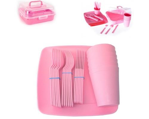 Столовый набор для пикника 32 предмета Hobby life розовый 03-1289 PM
