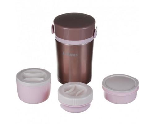 Термос пищевой из нержавеющей стали с контейнерами 1 литр A-PLUS-1669