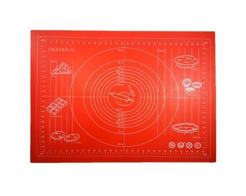 Силиконовый коврик Genes 68 на 51,5 см для раскатки теста красный