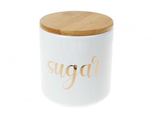 Банка керамическая 550 мл с бамбуковой крышкой Sugar белый с золотом BonaDi 304-925