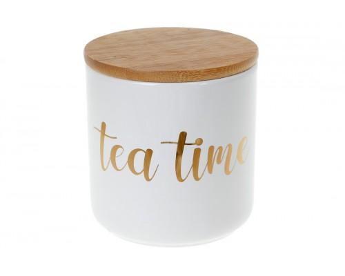 Банка керамическая 550 мл с бамбуковой крышкой Tea Time белый с золотом BonaDi 304-924