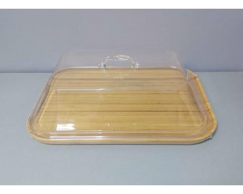 Блюдо бамбуковое прямоугольное с крышкой 42 х 30 см Helios 7311 PM