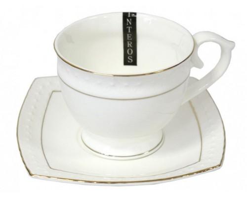 Чашка с блюдцем 90 мл круглая фарфоровая белая Снежная королева Interos 506707-A-90