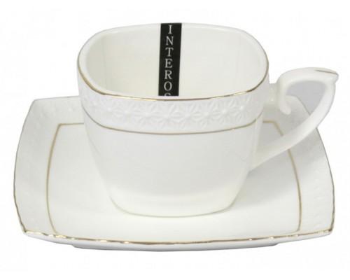 Чашка с блюдцем квадратная 90 мл фарфоровая белая Снежная королева Interos 507006-A