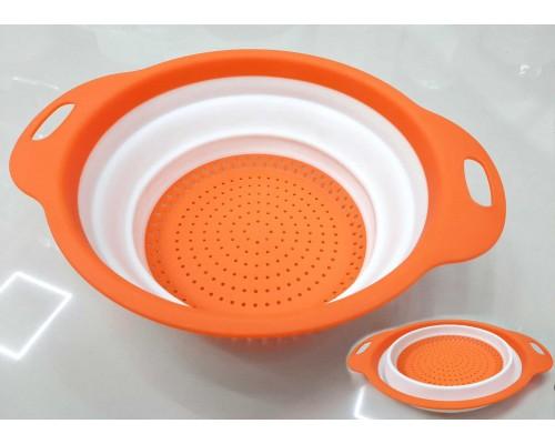 Дуршлаг силиконовый 23.5 х 29.5 см бело-оранжевый A-PLUS