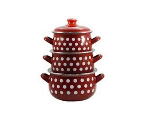 Набор кастрюль эмалированных Interos  RED Горох (2л, 3л, 4л) 558 RED