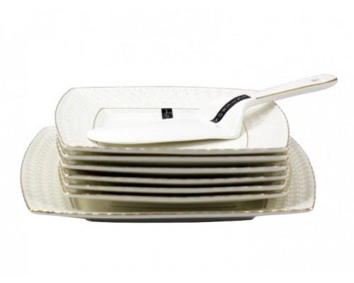 Сервиз для торта фарфоровый 8 предметов Снежная королева Interos 0805-А PM