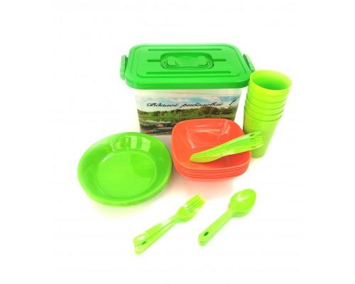 Набор пластиковой посуды для пикника Полимербыт на 6 персоны 37 предмета 294-ПБ