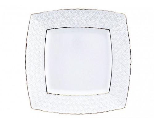 Тарелка фарфоровая 23 см квадратная Interos 9 Снежная Королева 223723-А