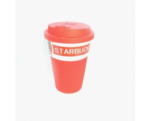 Термокружка Starbucks 350 мл керамическая с резиновым чехлом Красная 9703 PM
