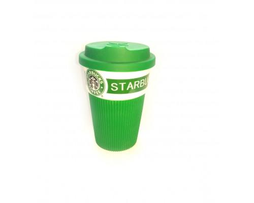 Термокружка Starbucks 350 мл керамическая с резиновым чехлом зеленая 9703 PM