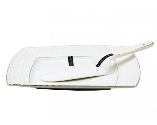 Тортовница квадратная с лопаткой фарфоровая белая 23 см Снежная королева Interos 0804 PM