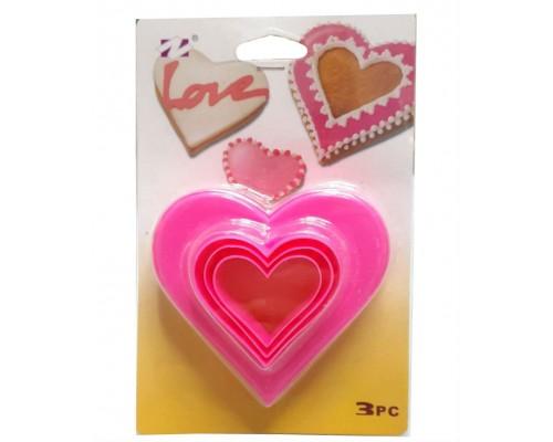 Вырубки для печенья двухсторонние Сердце 3 штуки PM