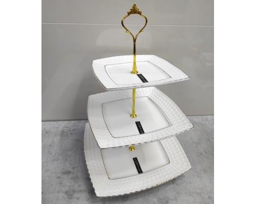 Фруктовница фарфоровая белая 3-х ярусная Снежная королева Interos 0128-A