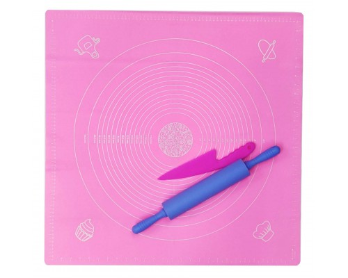 Набор силиконовых принадлежностей 3 предмета (силиконовый коврик, скалка, нож пластиковый) Genes PM