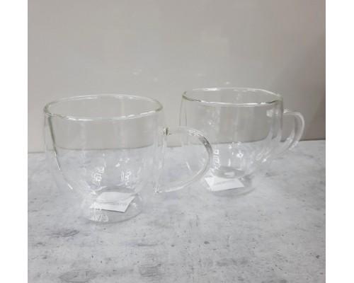 Набор чашек с ручками Ardesto с двойными стенками 250 мл h- 8,2 см 2 шт боросиликатное стекло AR2625GH PM
