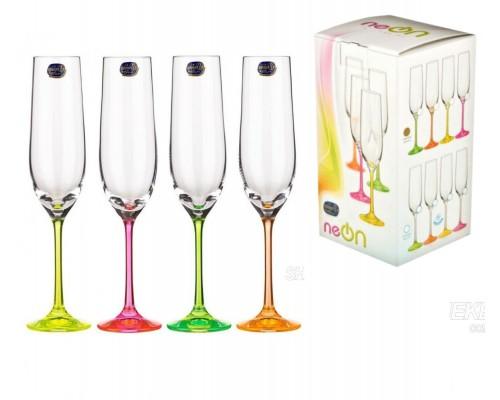 Набор бокалов 190 мл для шампанского 4 шт Bohemia Neon 40729-190s-d4895 PM