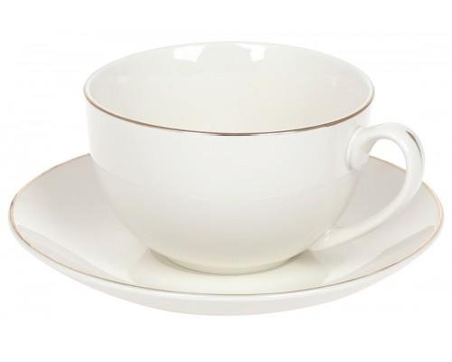 Чашка с блюдцем Нежность 220 мл фарфоровая с золотим кантом белая BonaDi 993-400 PM