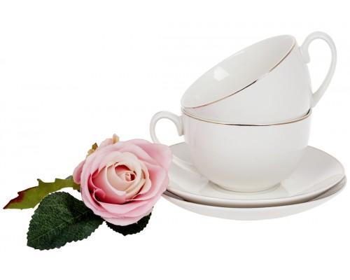 Чашка с блюдцем набор 4 пр Нежность 220 мл фарфоровая с золотим кантом белая BonaDi 993-401 PM