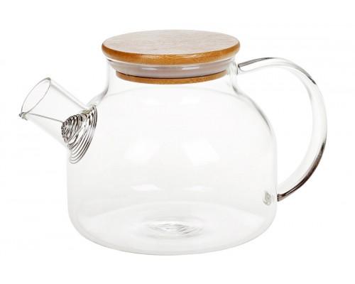 Заварочный чайник 1 л стеклянный с бамбуковой крышкой BonaDi 599-103